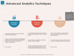 Advanced Analytics Techniques Predictive Ppt Powerpoint Presentation Diagrams