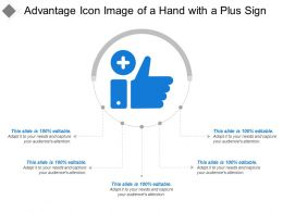 Advantage Icon Image Of A Hand With A Plus Sign