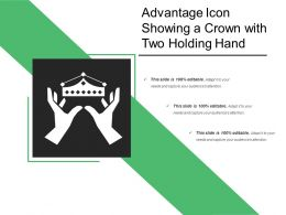 Advantage Icon Showing A Crown With Two Holding Hand