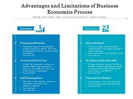 Advantages And Limitations Of Business Economics Process