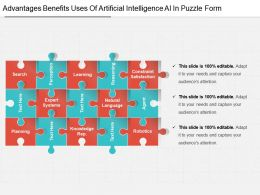 Advantages Benefits Uses Of Artificial Intelligence Ai In Puzzle Form Powerpoint Slides