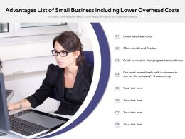 Advantages List Of Small Business Including Lower Overhead Costs