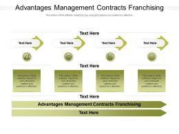 Advantages Management Contracts Franchising Ppt Powerpoint Presentation Model Icon Cpb