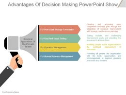 Advantages Of Decision Making Powerpoint Show