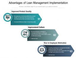 Advantages Of Lean Management Implementation