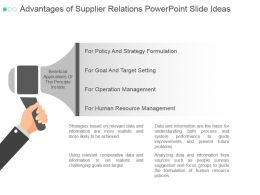 Advantages Of Supplier Relations Powerpoint Slide Ideas