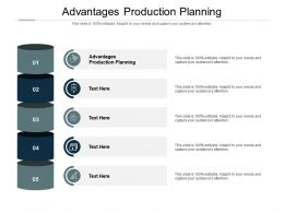 Advantages Production Planning Ppt Powerpoint Presentation Pictures Objects Cpb