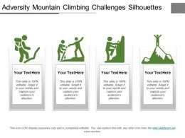Adversity Mountain Climbing Challenges Silhouettes