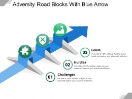 Adversity Road Blocks With Blue Arrow