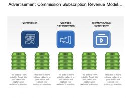 Advertisement Commission Subscription Revenue Model With Dollar Notes And Icons
