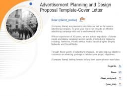 Advertisement Planning And Design Proposal Template Cover Letter Ppt Powerpoint File
