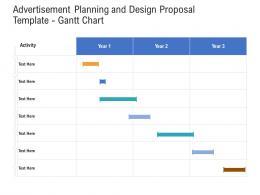 Advertisement Planning And Design Proposal Template Gantt Chart Ppt Powerpoint Sample