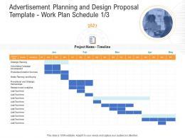 Advertisement Planning And Design Proposal Template Work Plan Schedule Analytics Ppt Show