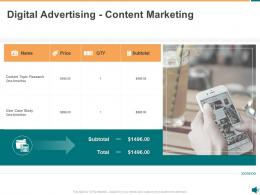 Advertisement Proposal Template Digital Advertising Content Marketing Ppt Powerpoint Show