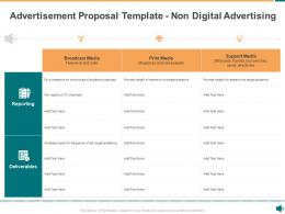 Advertisement Proposal Template Non Digital Advertising Ppt Powerpoint Presentation Structure