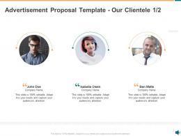 Advertisement Proposal Template Our Clientele Communication Ppt Powerpoint Presentation Ideas