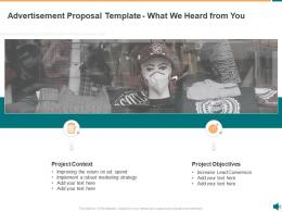 Advertisement Proposal Template What We Heard From You Ppt Powerpoint Presentation Ideas