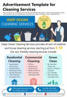 Advertisement Template For Cleaning Services Presentation Report Infographic PPT PDF Document