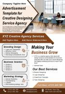 Advertisement Template For Creative Designing Service Agency Presentation Report Infographic PPT PDF Document
