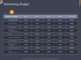 Advertising Budget Product Category Attractive Analysis Ppt Designs
