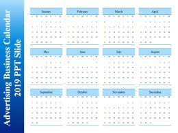 Advertising Business Calendar 2019 Ppt Slide