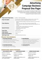 Advertising Campaign Business Proposal One Pager Presentation Report PPT PDF Document