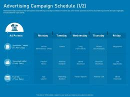 Advertising Campaign Schedule Long Business Marketing Using Linkedin Ppt Sample