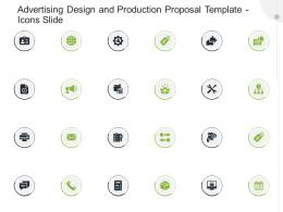 Advertising Design And Production Proposal Template Icons Slide Ppt Powerpoint Presentation Icon