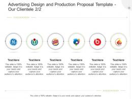 Advertising Design And Production Proposal Template Our Clientele Ppt Powerpoint Presentation Slides