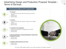 Advertising Design And Production Proposal Template Terms Of Services Ppt Powerpoint Portfolio