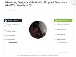 Advertising Design And Production Proposal Template What We Heard From You Ppt Powerpoint Deck
