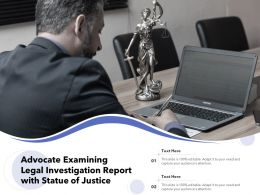 Advocate Examining Legal Investigation Report With Statue Of Justice