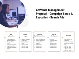 Adwords Management Proposal Campaign Setup And Execution Search Ads Ppt Tutorials