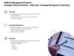 Adwords Management Proposal Campaign Setup And Execution Video Ads Campaign Management Reporting Ppt Grid