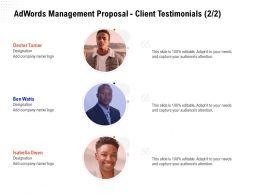 Adwords Management Proposal Client Testimonials Ppt Powerpoint Presentation Model
