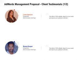 Adwords Management Proposal Client Testimonials Teamwork Ppt Powerpoint Portrait