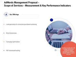 Adwords Management Proposal Scope Of Services Measurement And Key Performance Indicators Ppt Grid