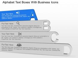 Ae Alphabet Text Boxes With Business Icons Powerpoint Template Slide