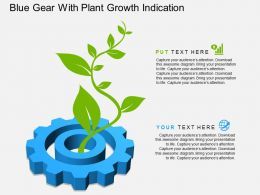 ae Blue Gear With Plant Growth Indication Flat Powerpoint Design