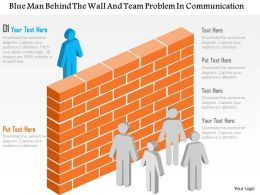 Ae Blue Man Behind The Wall And Team Problem In Communication Powerpoint Template