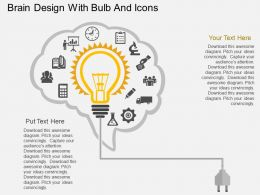 ae Brain Design With Bulb And Icons Flat Powerpoint Design