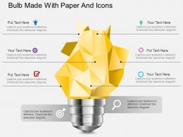 Ae Bulb Made With Paper And Icons Powerpoint Template
