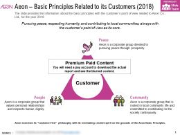 Aeon Basic Principles Related To Its Customers 2018