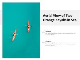 Aerial View Of Two Orange Kayaks In Sea