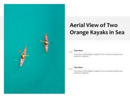 Aerial View Of Two Orange Kayaks In Sea