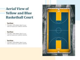 Aerial View Of Yellow And Blue Basketball Court