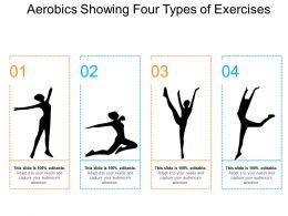 Aerobics Showing Four Types Of Exercises
