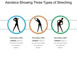 Aerobics Showing Three Types Of Streching