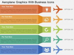 Aeroplane Graphics With Business Icons Flat Powerpoint Design