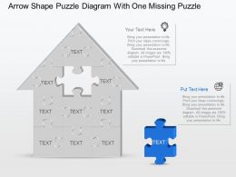 Af Arrow Shape Puzzle Diagram With One Missing Puzzle Powerpoint Template Slide